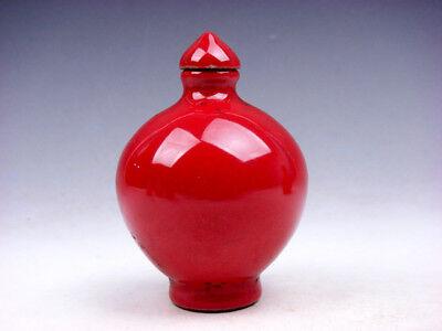 Asian Antiques Antigüedad Monocromo Ox-bood Rojo Vidriado Porcelana Tabaco Botellas #12241721