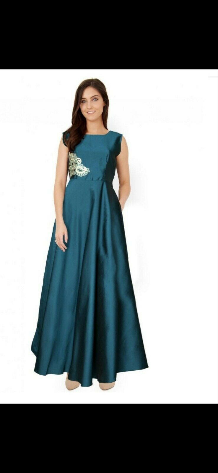 Ladies indian Full Length Gown Teal, Anarkali, Size Small gorgeous embellishment