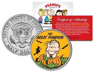 Peanuts-THE-GREAT-PUMPKIN-Halloween-LINUS-JFK-Half-Dollar-U-S-Coin-LICENSED
