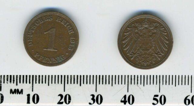 Germany Empire 1913 A - 1 Pfennig Copper Coin - Berlin Mint - #1