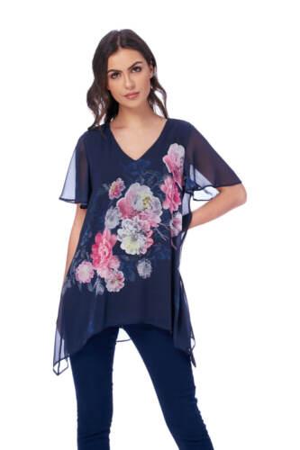 Roman Originals Women/'s Blue Floral Print Top Sizes 10-20
