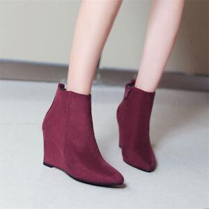 Women-039-s-Pointed-Toe-Ankle-Boots-Hidden-Wedge-Heels-Suede-Booties-Side-Zip-Shoes
