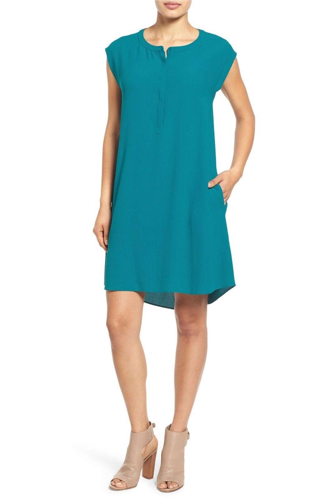 NWT Eileen Fisher Round Neck A-Line Silk Shift Dress Jewel Blau - XS