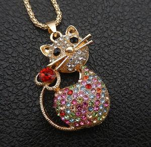Betsey-Johnson-Colorful-Crystal-Rhinestone-Cat-Pendant-Sweater-Necklace