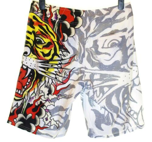 Bnwt Authentic Men/'s Ed Hardy Board Swim Surf Shorts Burning Tiger New White