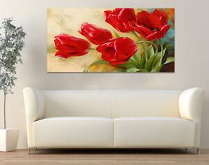 Quadri Moderni su Tela Stampa Fiori cm.120x60 Arredamento Casa Arte Design Rosso