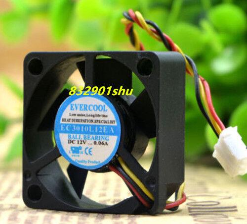 For EVERCOOL EC3010L12EA cooling fan DC12V 0.06A 30*30*10mm 3wire #Shu62