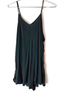 New Free People We The Free Sleeveless Ribbed Slip Short Dress Green Xs $78