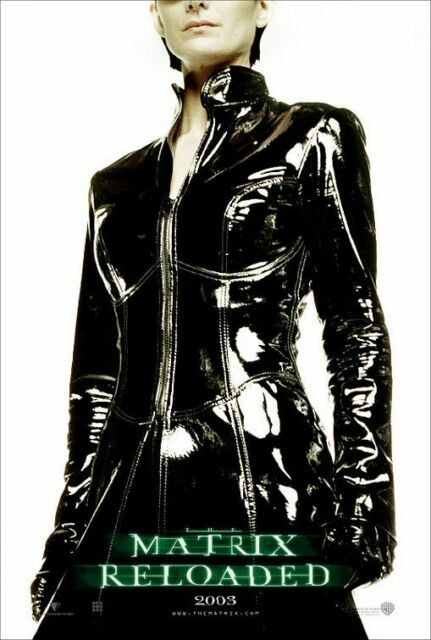 THE MATRIX RELOADED MOVIE POSTER ~ TRINITY PORTRAIT 27x39 Carrie-Anne Moss