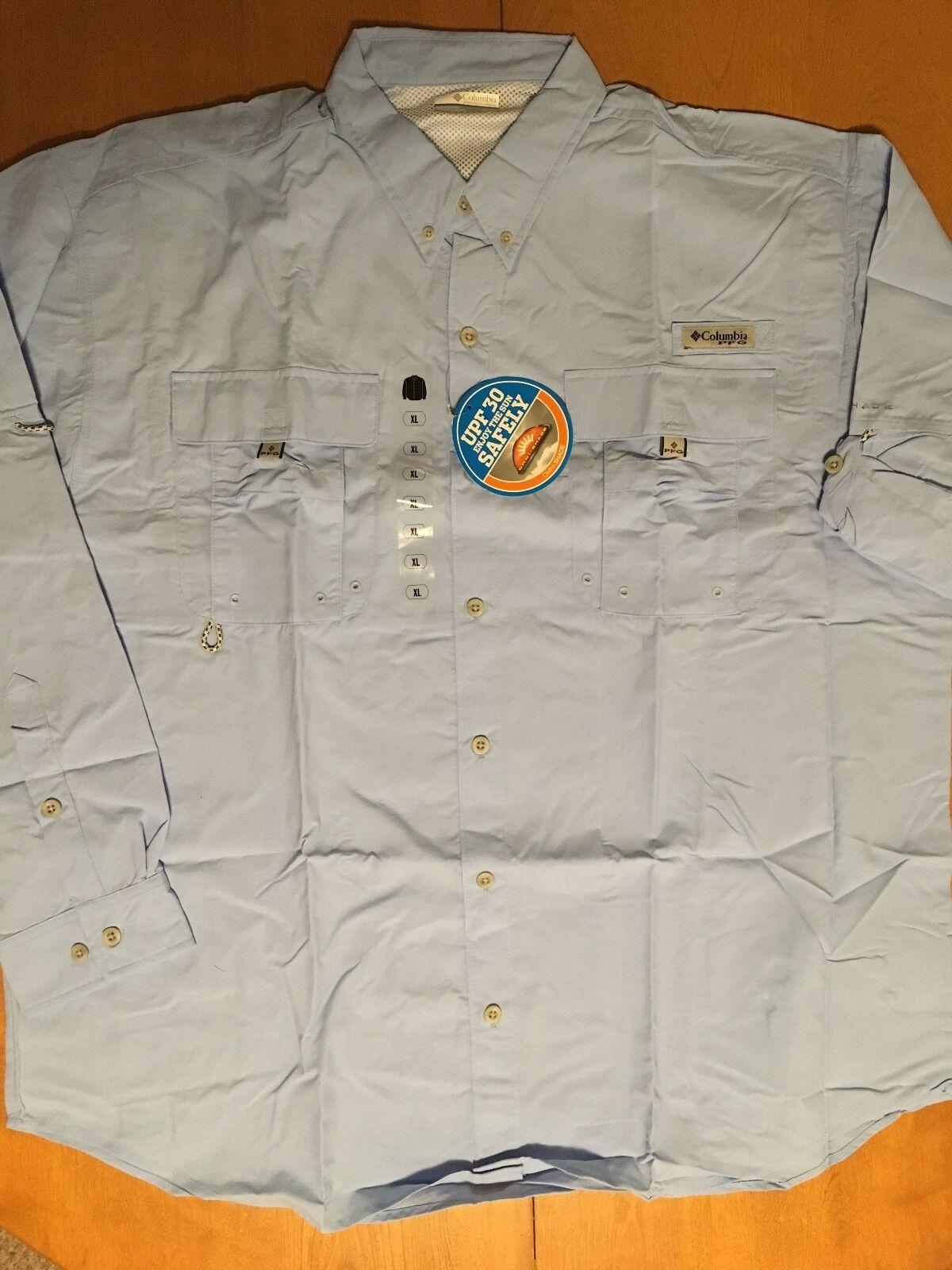 dac594781ae Columbia Mens Pfg Bahama II UPF 30 Vented Fishing Hiking Shirt Blue XL for  sale online