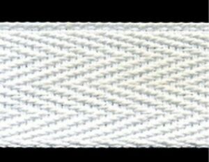 "50mm White /""Cotton Soft/"" 100/% Polyester Herringbone Tape"