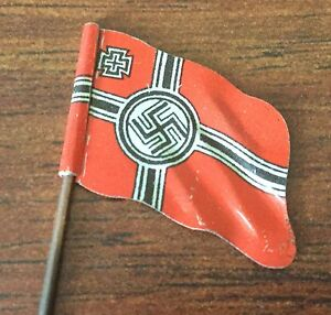 METAL FLAG FOR ELASTOLIN OR LINEOL SOLDIERS WWII 70mm CIRCA 1935-40
