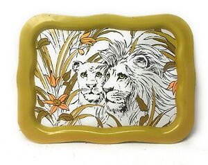 Vintage Metal TV Tray 2 Lions in Grass Retro Lap Table
