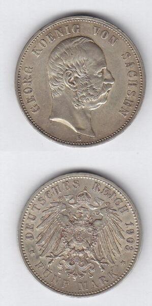 Adroit Empire 5 Mark Georg Roi De Saxe 1903 E Argent Correspondant En Couleur