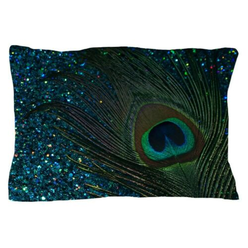 "CafePress Glittery Aqua Peacock Standard Size Pillow Case 1315442454 20/""x30/"""