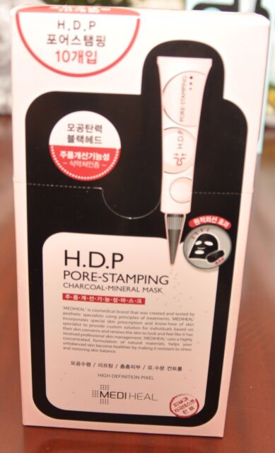 MEDIHEAL H.D.P Pore-Stamping Charcoal Mineral Ampoule Mask (Packed of 10pcs)