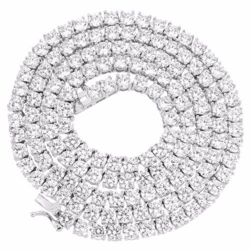 Brilliant Cut Round CZ Tennis Chain Necklace Anti-Tarnish 925 Sterling Silver