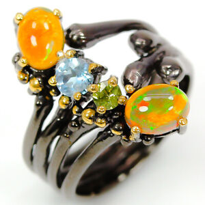 One-of-a-kind-Natural-8x6-Opal-925-Sterling-Silver-Ring-Animal-Ring-RVS295