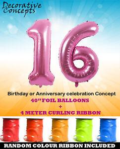 Giant-16th-Festa-di-Compleanno-40-034-Foil-Balloon-Con-Curling-Nastro-Rosa-Eta-16