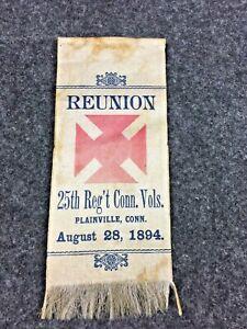 Civil War 1894 GAR Reunion Ribbon 25th Regiment Conn Volunteers 19th Corps