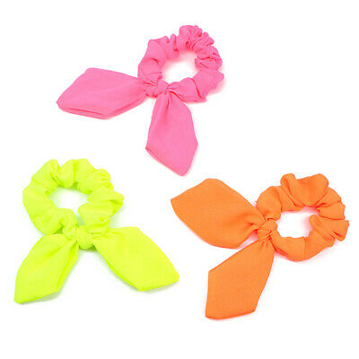 Fluorescent Color Bow Hair Rope Rabbit Ears Scrunchie Hair Tie Ponytail Holder B