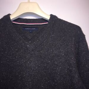 Tommy-Hilfiger-Traditionnel-Homme-V-Neck-Pull-laine-filee-Pull-Taille-L
