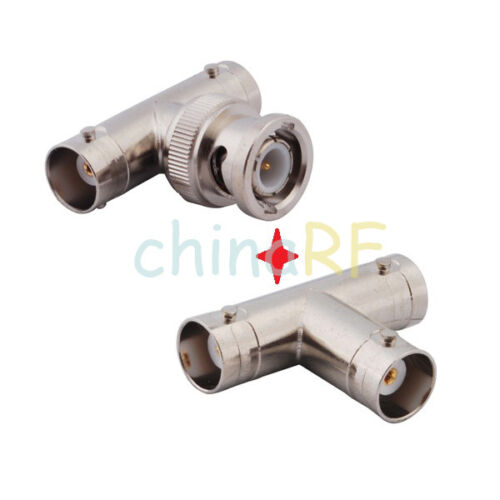 BNC Male to 2Female Plug RF Coaxial T Adapter and BNC Connector 3 Way Splitter