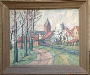 Expressionist-Worpswede-Church-with-Village-North-German-UM-1920-Antique-Unsigned