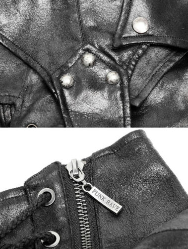 Gothic Punk Steampunk Bondage Leather Hood Harness Jacket Straps PunkRave Men