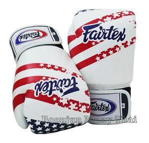 New Fairtex Muay Thai Boxing Gloves BGV1 USA Flag Limited Ed MMA K1 Training