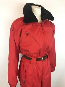 Obermeyer-Chamonix-Faux-Fur-Collar-Ski-Snowsuit-Red-Women-s-Size-10