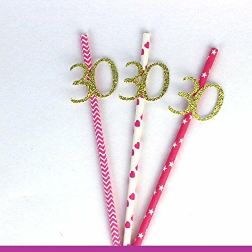 30th Birthday Party Straws Pack of 10 Glittery Gold with Pink Straws