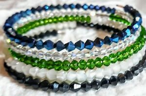 Memory-Wire-Wrap-Bracelet-With-Multiple-Glass-Beads-Handmade-FREE-SHIPPING