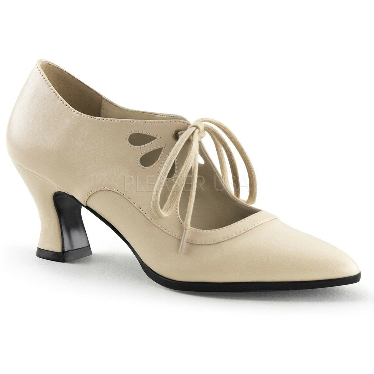 Gorgeous 2.75  Beige Pointy Victorian Granny Witch Steampunk Cutout Pumps 6-12