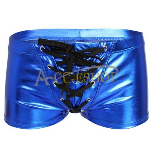 Homme Faux Cuir Wet Look serré Boxer avec cordon de serrage Bikinis Pochette Sous-vêtements