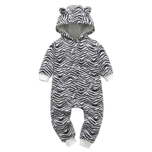 Infant Baby Boy Girl Warm Cartoon Floral Hooded Romper Jumpsuit Outfit Clothes