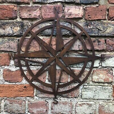 Rusty COMPASS Sign Metal House Garden Decoration Feature rustic wall fence