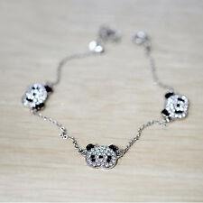 Trendy Sliver Panda Bracelet Rhinestone Bangle Jewelry (three bears) Accessories