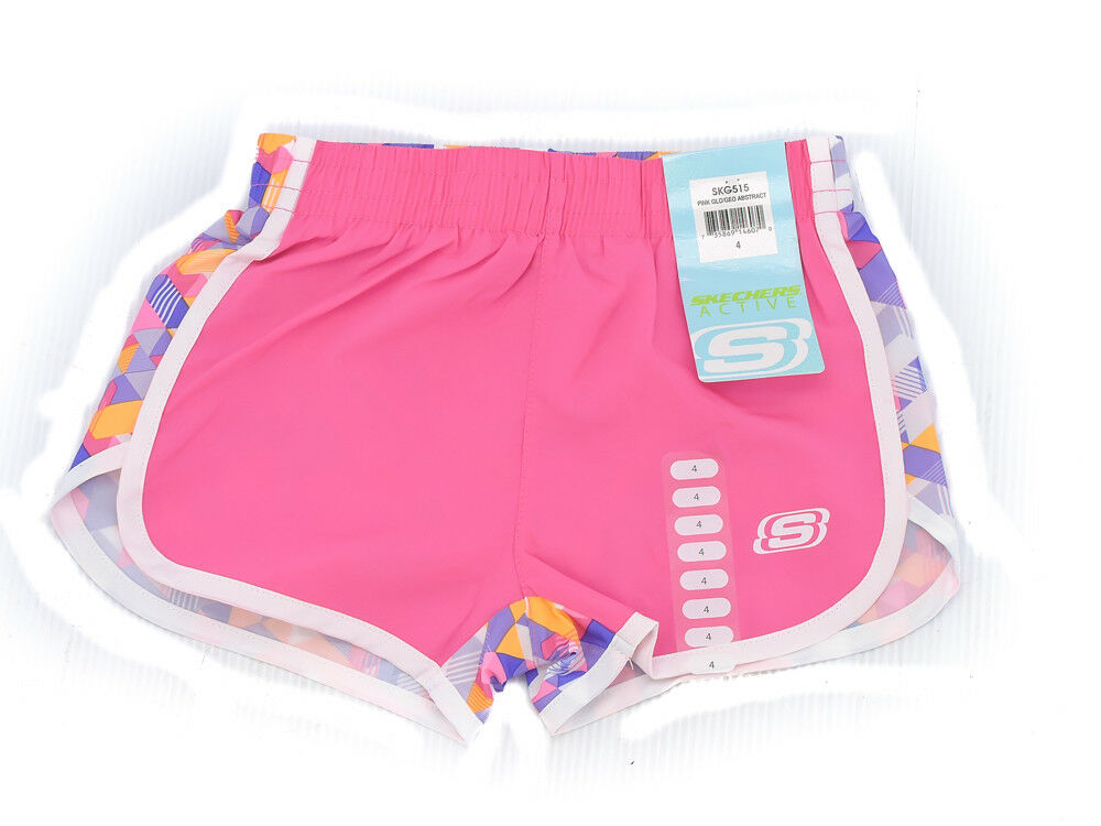 SKECHER Girls Active Shorts Size 4 Diagonal Stripes Pink Glow