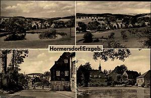 Hormersdorf-Erzgebirge-DDR-Sachsen-alte-AK-1963-Panorama-Teich-Strassenpartie-u-a