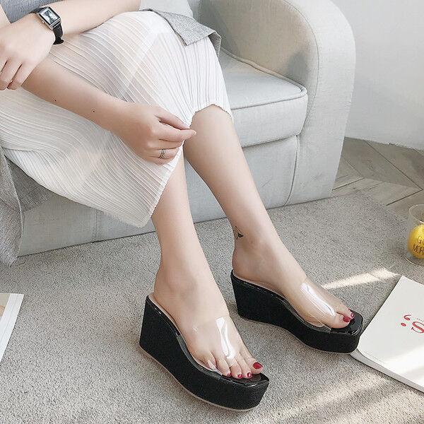 Sandali eleganti sabot zeppa ciabatte 9 negro comodi  pelle sintetica 9809