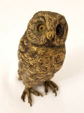 Antique Signed Franz Bergman Vienna Cold Painted Bronze Owl Figurine