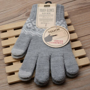 b276510b8 3 Colors Touch Screen Gloves Women Girl Stretch Knit Mittens Winter ...