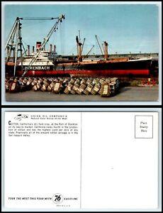 CALIFORNIA-Postcard-Port-Of-Stockton-Cotton-Bales-Ready-For-Loading-M33