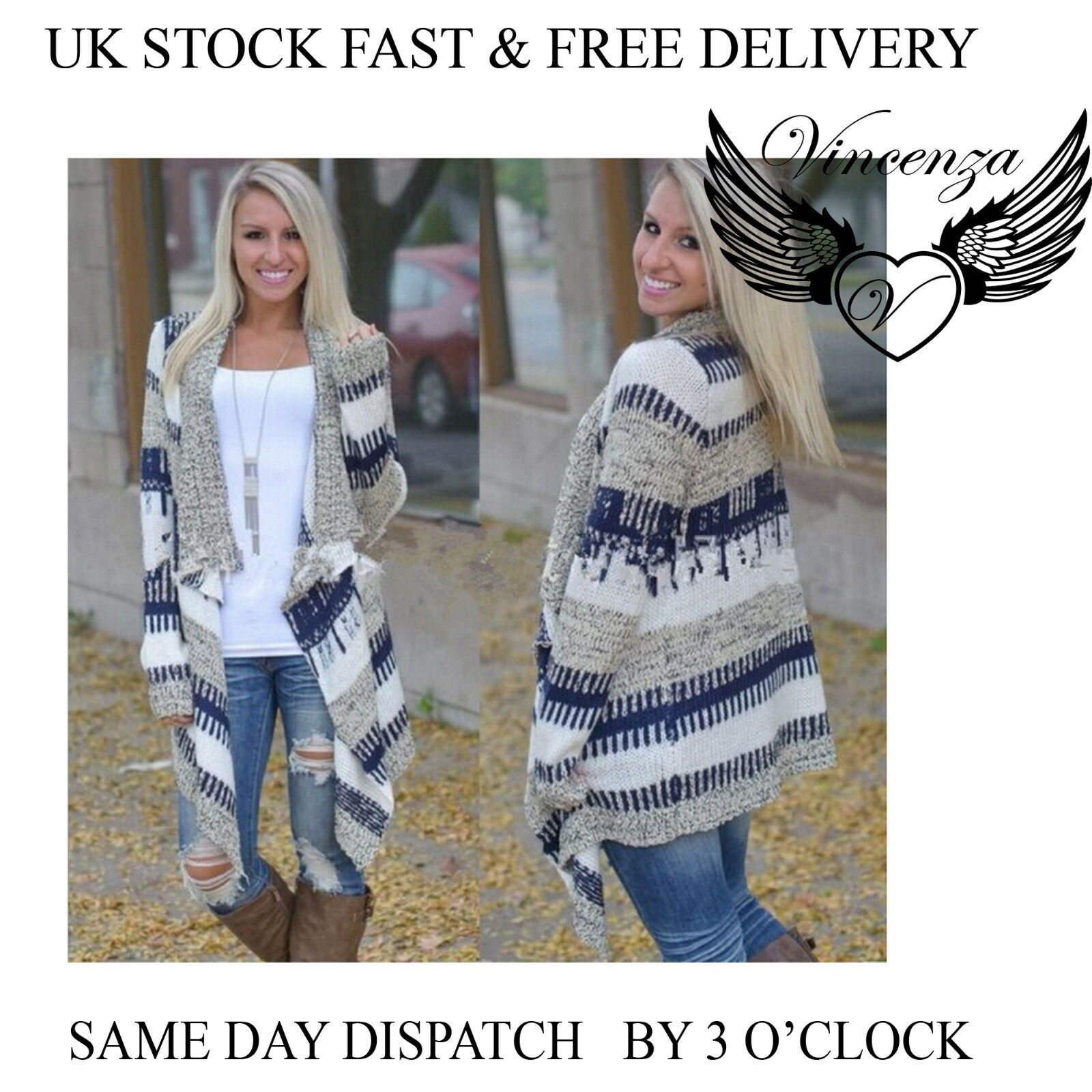 e6cfae09f48 Details about WOMENS LADIES OPEN LONG SLEEVE JUMPER SHAWL SWEATER CARDIGAN  TOP UK VINCENZA