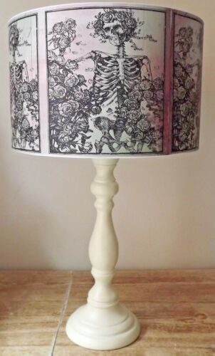 pink green Halloween Lampshade,light shade,Floral Skeleton Gothic Free Gift