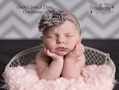 Gray and Silver Shabby Flower Newborn Headband Hairbow - Baby Girl Hair Bow