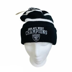 Oakland-Raiders-NFL-AFC-Authentic-New-Knit-Cuffed-Cap-Beanie-Winter-Pom-Top-Hat