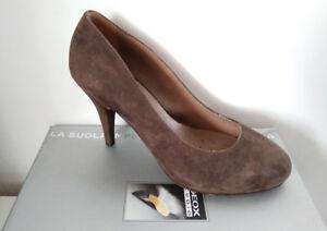 Geox scarpe d collet donna camoscio tortora scuro n.38