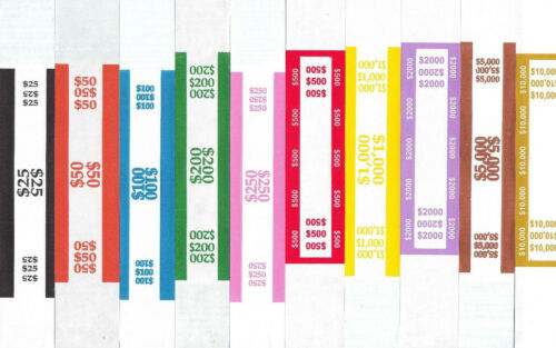 100 SELF ADHESIVE US CURRENCY STRAP BANDS YOU CHOOSE HOW MANY OF EACH YOU WANT*